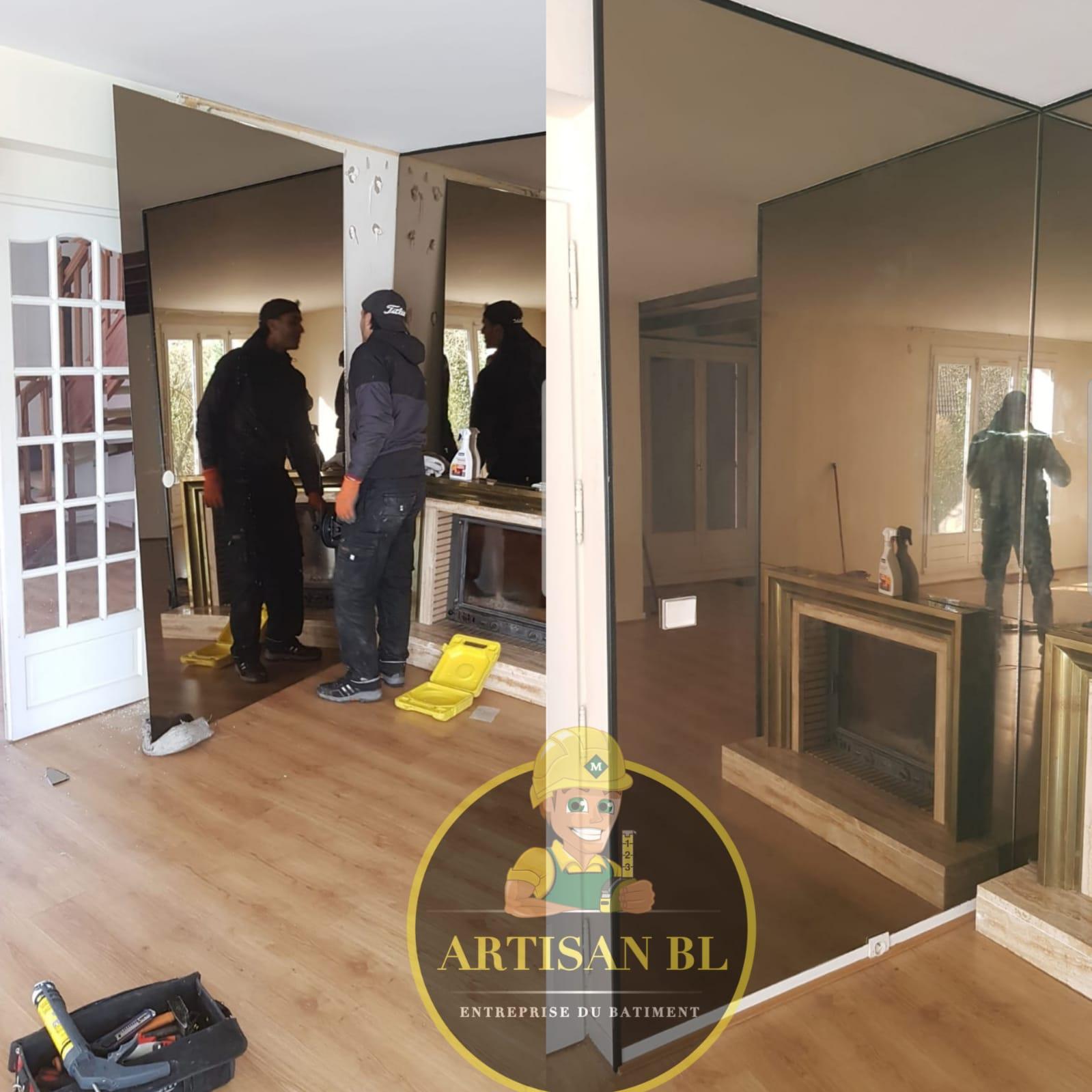 Installation mur miroir